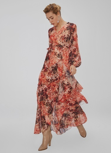 People By Fabrika Volan Detaylı Desenli Elbise Kiremit
